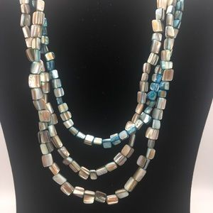 Shell Bead, 3-Strand Necklace